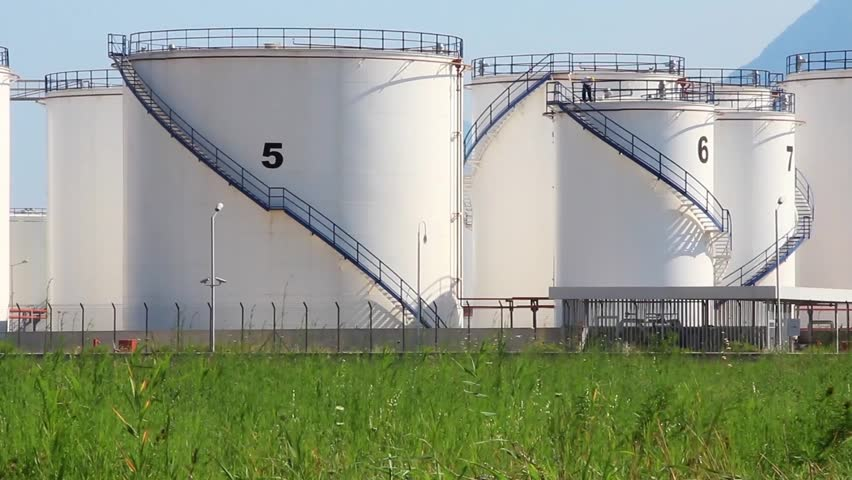 Big white oil storage tanks in Antalya, Turkey