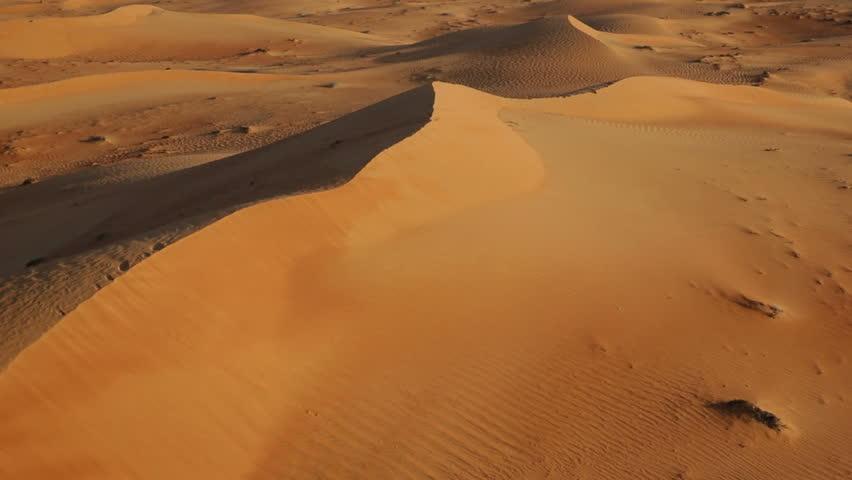 Flying over sand dunes, Aerial, Arabian Dessert,...