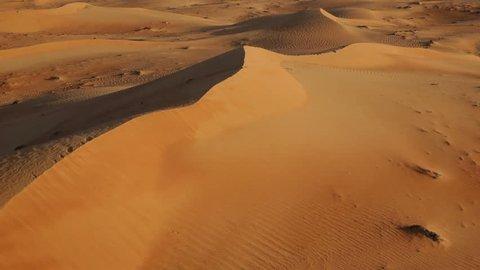 Flying over sand dunes, Aerial, Arabian Dessert, Dubai, UAE