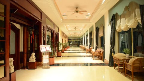 The entrance in restaurant and interior of luxury hotel with working ventilators, Ajman, UAE