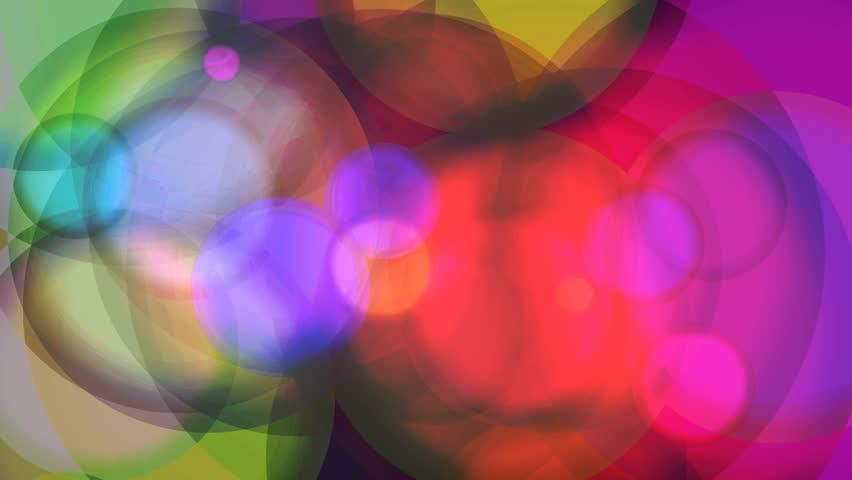 Multicolored Glowing Circles Abstract Motion Background