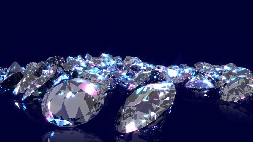 Jewel Stones Heap In Violet Tones Rotating Over Dark