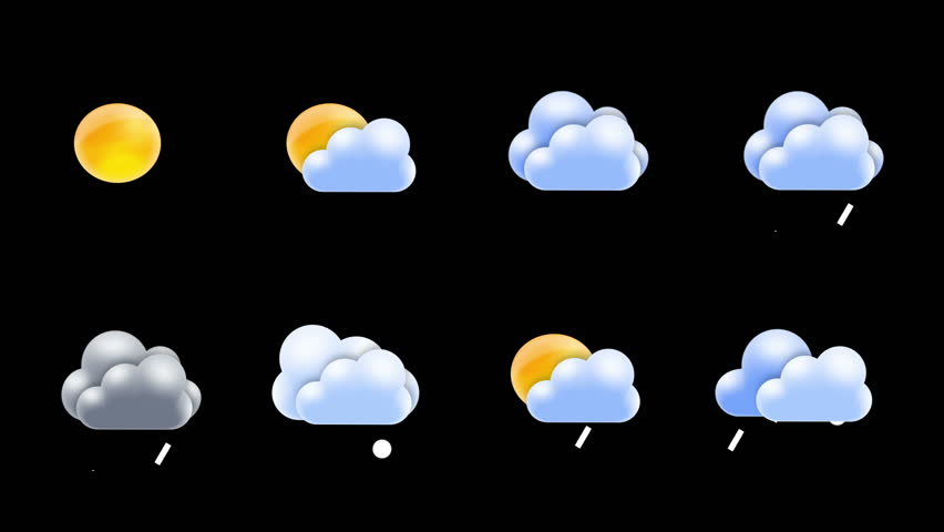 Weather icons set loop with alpha matte