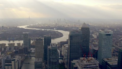 Aerial view of the Canary Wharf financial district of in London, UK.