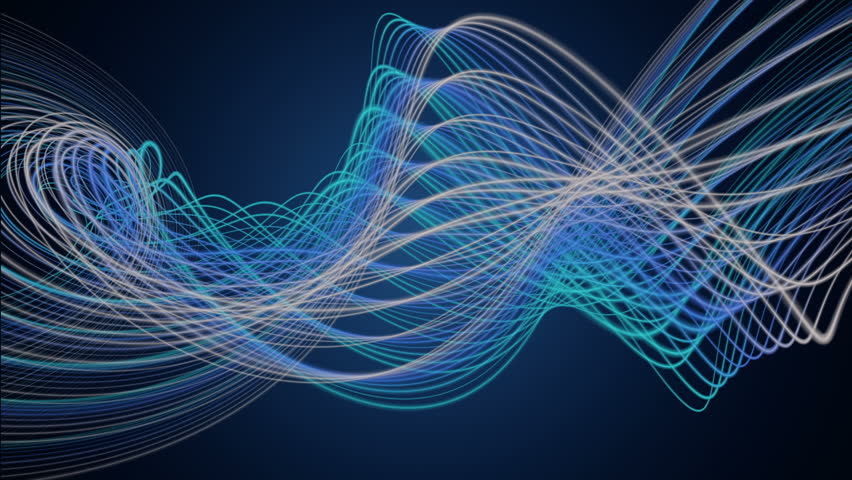 fantastic video animation with stripe wave object in motion, loop HD 1080p