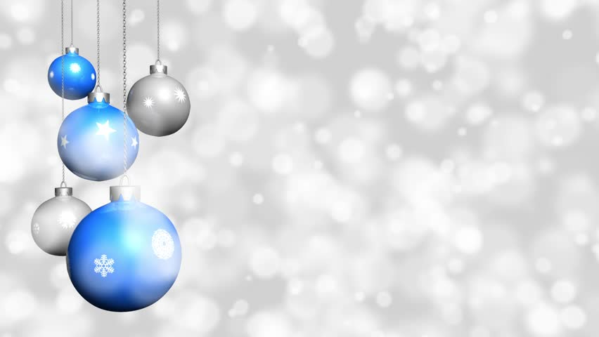Christmas Ornaments With Snow Background (Blue, Silver). Loopable ...