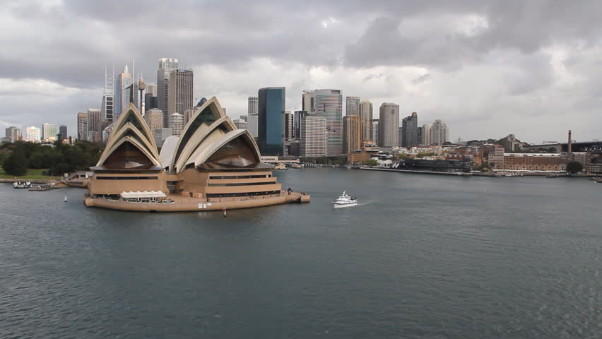 Sydney CBD and the Opera House as viewed from a cruise ship as it approaches the Harbor Bridge