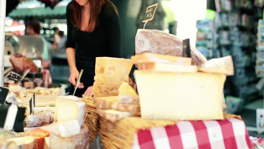 Stand with cheese at city market