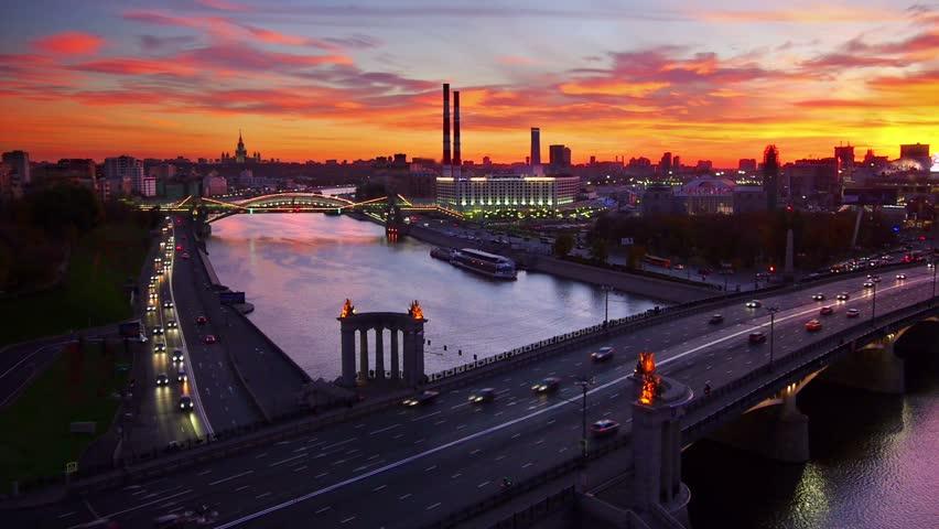 Night city skyline, Moscow.