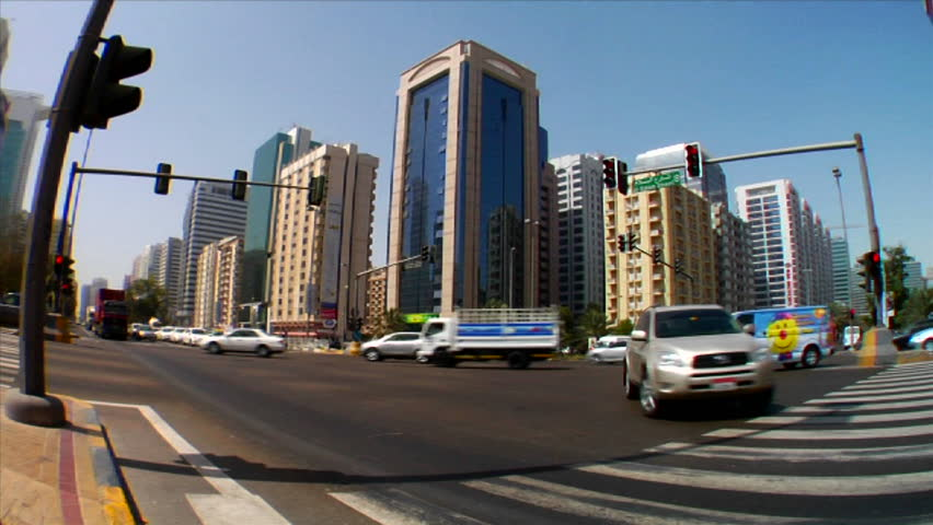 ABU DHABI, UNITED ARAB EMIRATES-CIRCA 2012-Time lapse of traffic on streets in Abu Dhabi in the United Arab Emirates.