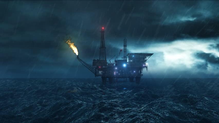 Oil platform in the storm -  loop