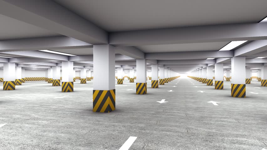 Parking Garage Underground Industrial Interior Rotating Cycled Stock Footage Video 4900661