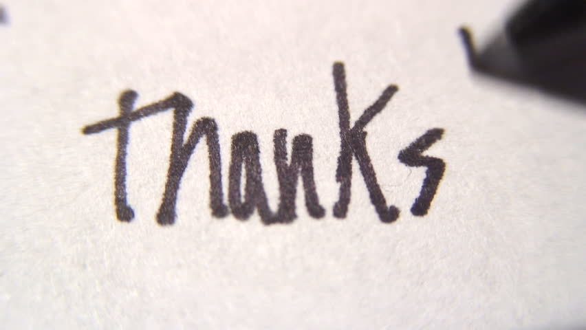 "A note of ""thanks!"" is written."