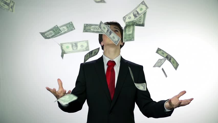 Throwing money in to air. Slow motion money shots of young business man full of corrupted money, throwing it in the air and bribing. | Shutterstock HD Video #4919381