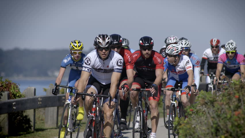 JAMESTOWN, RHODE ISLAND – OCTOBER 14: Cyclists in the 38th annual Jamestown Classic road race compete for a winning place on the podium October 14, 2013 in Jamestown, RI.  240fps slow-motion.