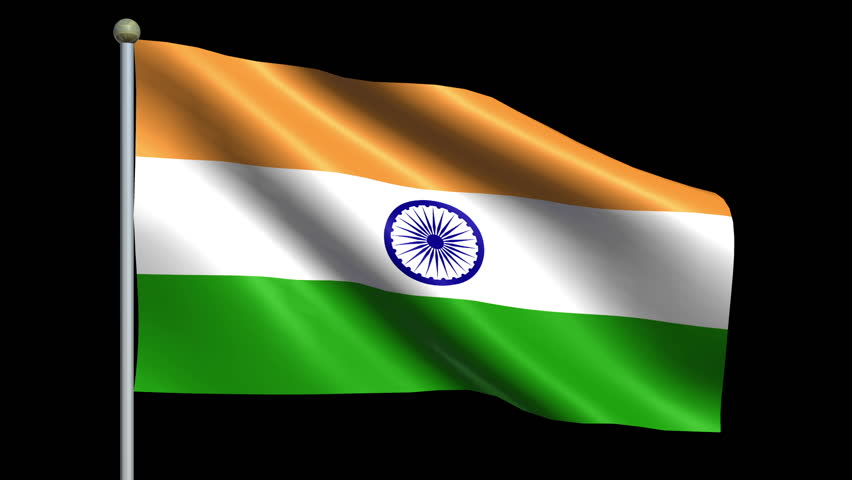 Indian Animated Flag Waving: Flag Of India Animation Loop Stock Footage Video (100