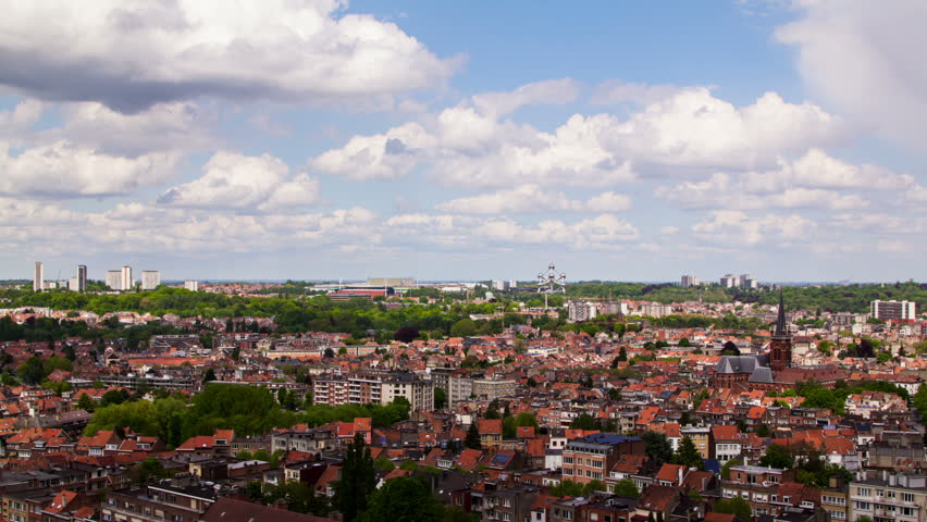 Brussels cityscape time lapse.
