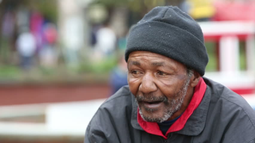African american homeless man outdoors during the day
