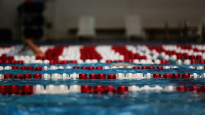 Selective focus shot of people swimming laps. Added color correction. | Shutterstock HD Video #4965215