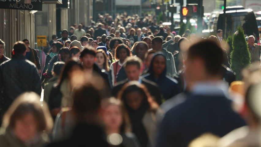 NEW YORK - CIRCA OCTOBER 2013: Crowd of people walking on busy street   Shutterstock HD Video #4972475