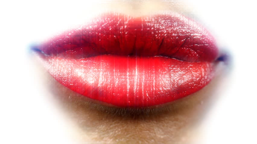 macro close-up of red luscious lips