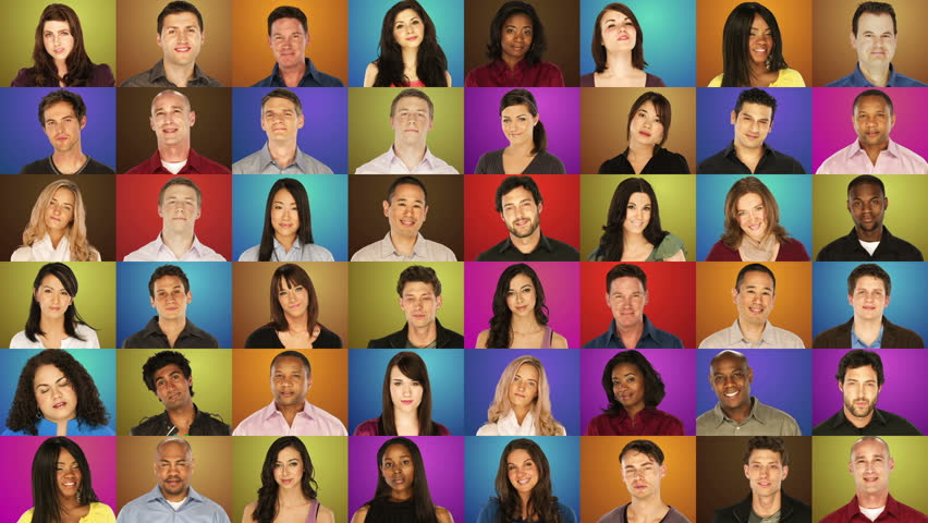 Grid of portraits - diverse people on colorful backgrounds - spiral pattern | Shutterstock HD Video #4979438