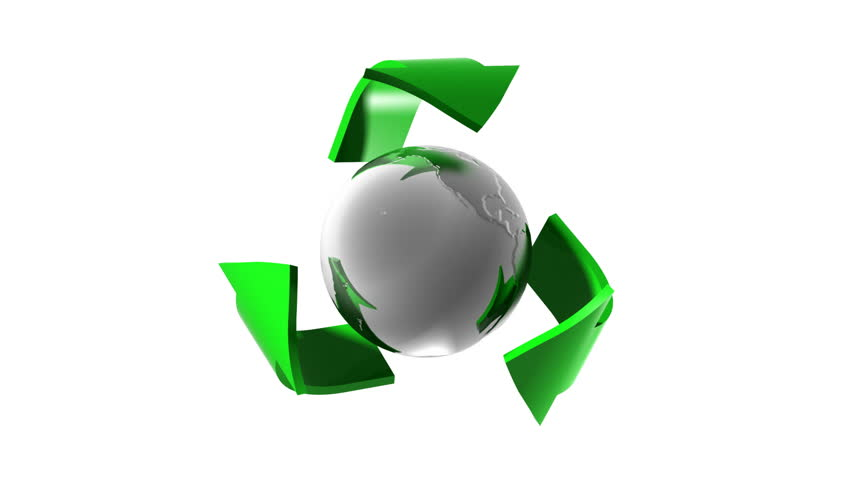 3d animated recycling symbol. Seamless loop. Alpha channel.