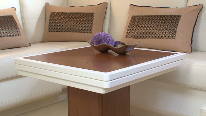 yacht coffee table outside sofa and table on main deck of luxury yacht stock footage