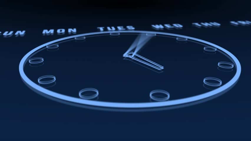 3d animation of a clock going through 24 hours. With virtual camera movement.