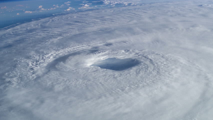 Closeup view of hurricane from space