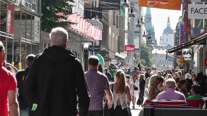 STOCKHOLM SWEDEN - August 15 : Stockholm Drottniggatan Main Shopping Pedestrian Street Sweden in 2013