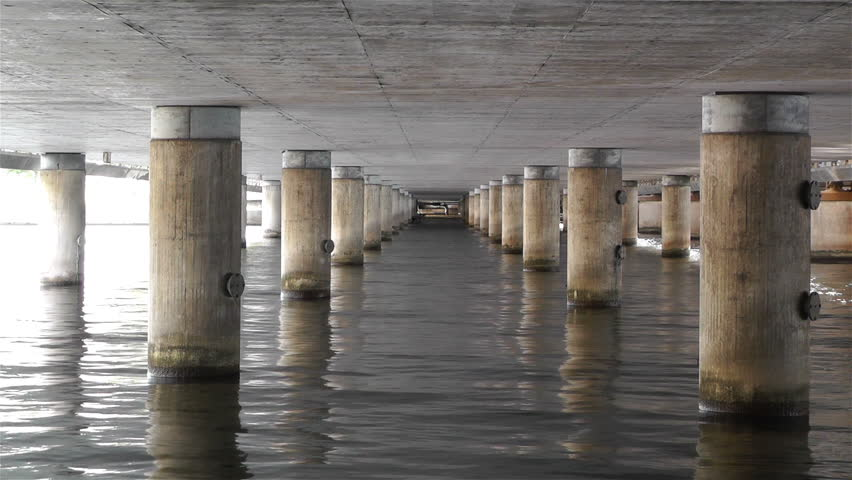 Stock Video Of Concrete Bridge Pillars In Water 5006381