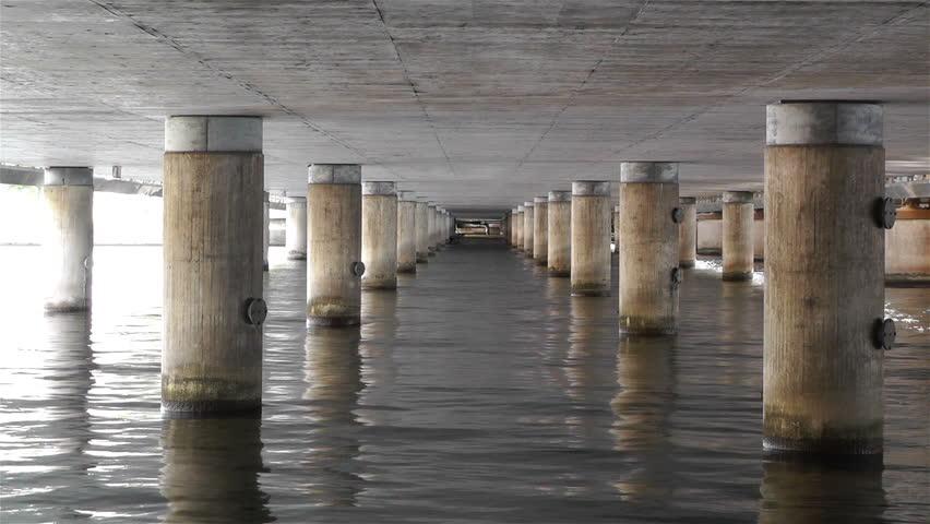 Stock Video Of Concrete Bridge Pillars In Water 5006381
