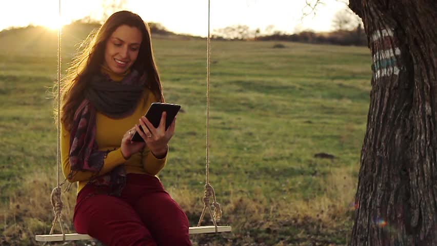 Pretty Young Woman Using Tablet Outdoors Nature Technology