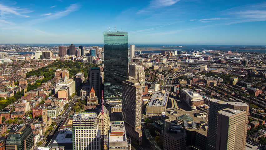 Boston Breaths - A time lapse of Boston, Massachusetts looking out towards the harbor during the day as traffic and people move along Boylston Street and clouds drift slowly overhead. | Shutterstock HD Video #5009051