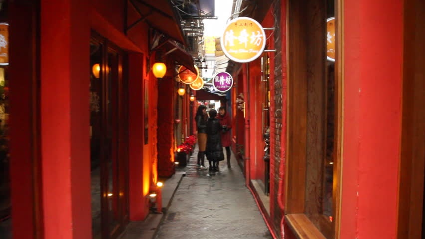 SHANGHAI - DECEMBER 21: Red street in Shangha Tianzifang. Tianzifang is a