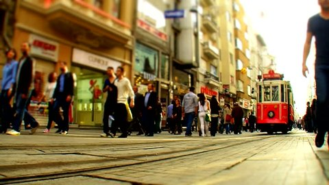 ISTANBUL - NOVEMBER 4 : People walk through the street on November 4, 2012 in Istanbul, Turkey.