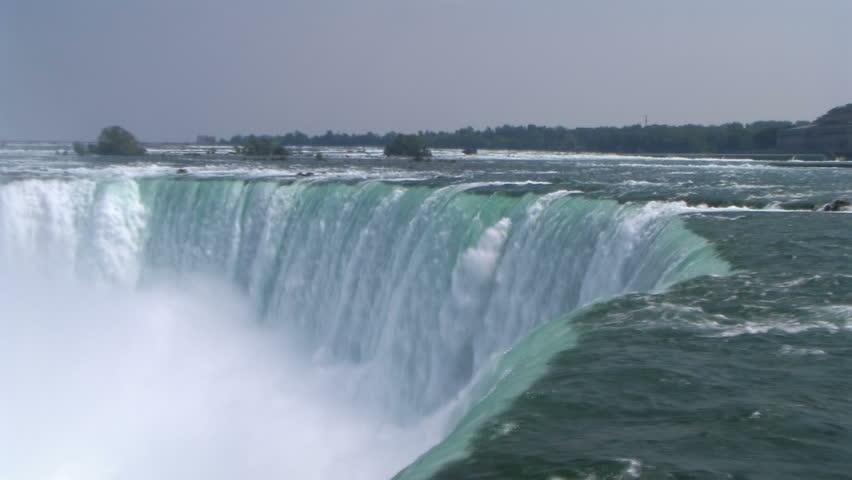 Niagara Falls. Zoom in to  falling water close-up.