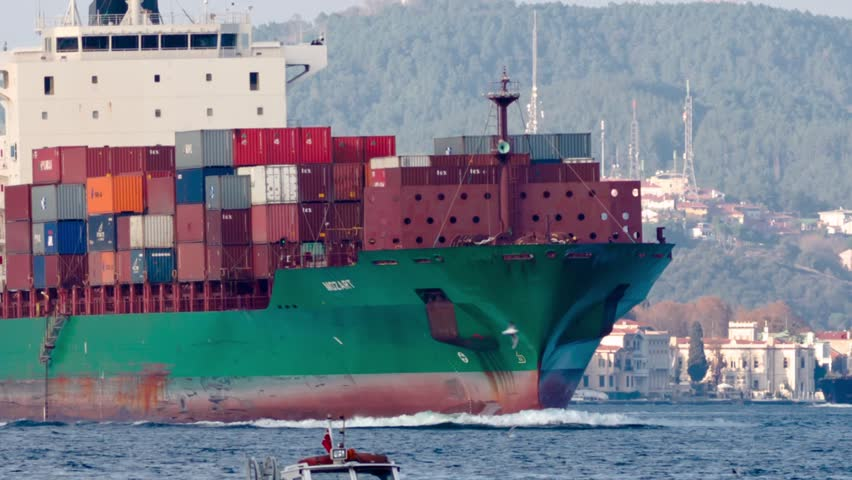 ISTANBUL - OCT 26: Cargo ship MOZART (IMO: 9337274, Liberia) full of containers