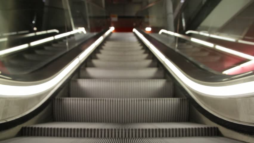 moving escalator up, mecanic, electic,  Stair and escalators in a public area. hd footage 1080