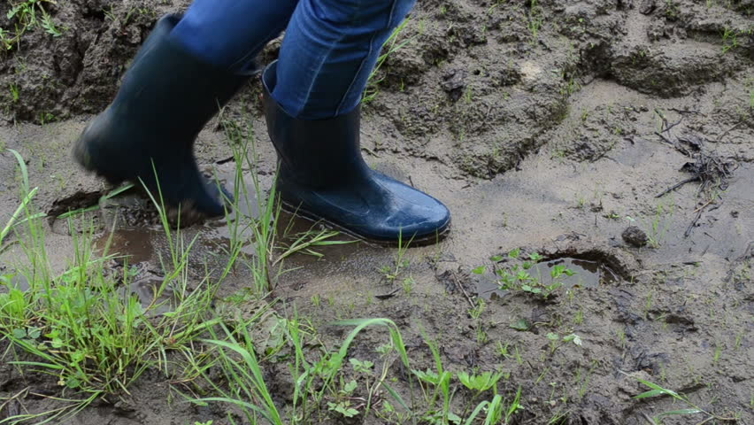 Woman Legs With Gumboots Rubber Boots Walk On Wet Dirt