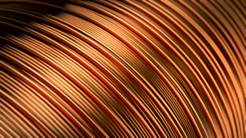 Close up of the bare bright copper wire on the spool. CG loopable animation.