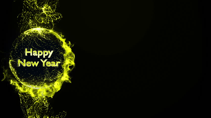 happy new year gold text in particles background