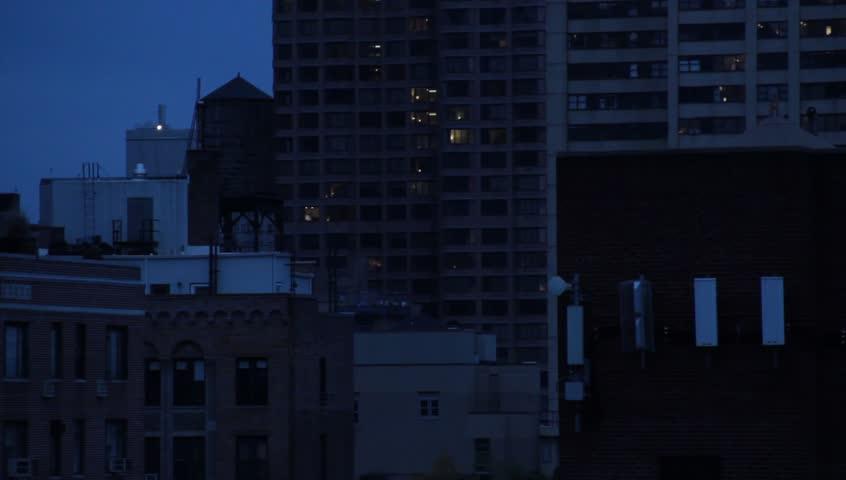 Apartment Buildings At Night On New York City Skyline November