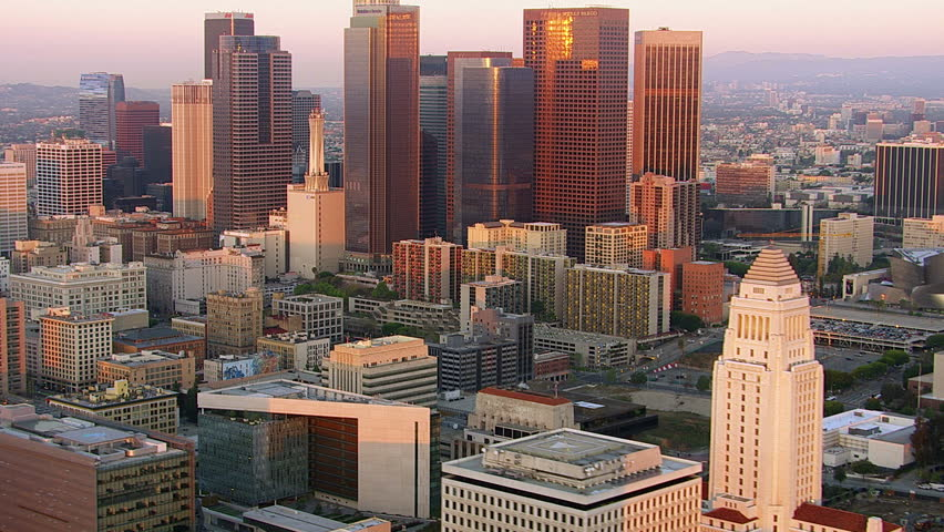 Los Angeles, California, USA - March 22, 2012: Aerial shot of downtown Los Angeles at sunset | Shutterstock HD Video #5054021