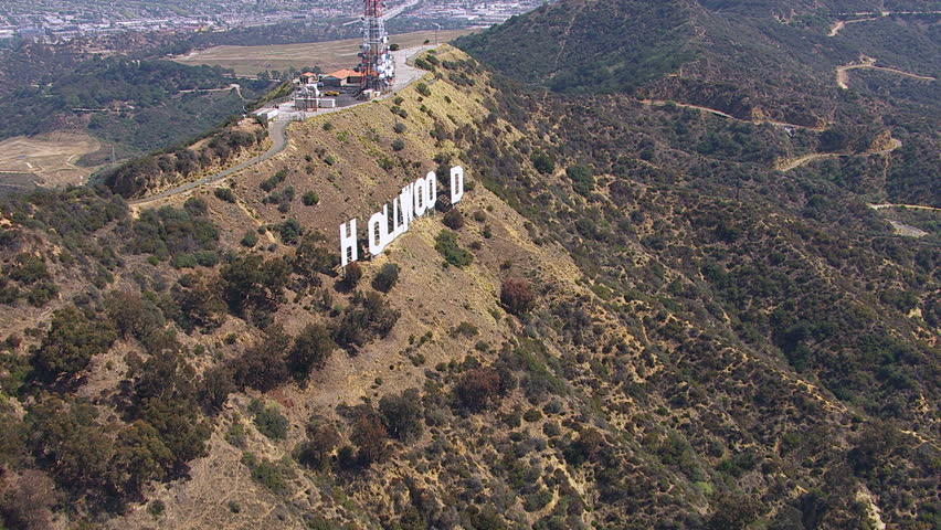 Los Angeles, California, USA - March 22, 2012: Aerial shot of the back side of the Hollywood sign