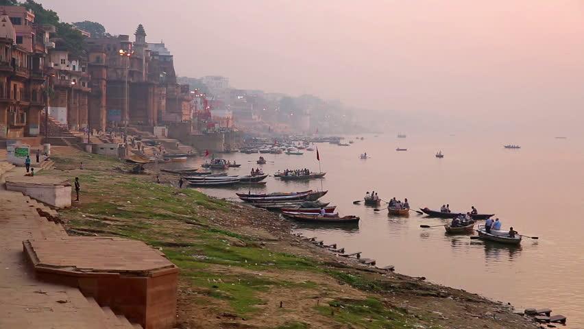 Everyday scene by Ganges River in Varanasi, India