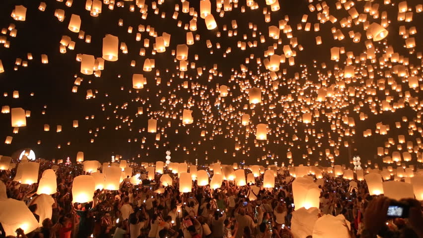Floating lanterns in Yee Peng Festival, Loy Krathong celebration in Chiangmai, Thailand. Wide angle view. #5092781