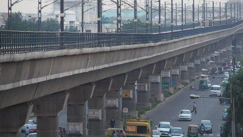 New Delhi, India - 7/25/13 - Metro train