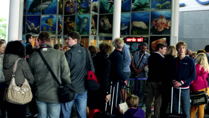 Barcelona, Spain - 10.10.2013: People waiting in line at Barcelona aquarium